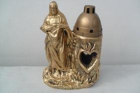 Chrystus z gipsu z miejscem na znicza - kolor złoty
