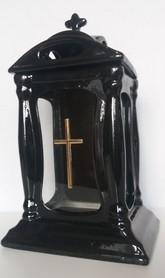 Znicz Ceramiczny z krzyżem na podstawie - dom
