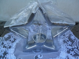 Gwiazda ceramiczna srebrna z miejscem na świeczkę