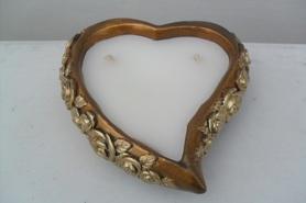 Amfora serce - złoty znicz otwarty z dwoma knotami