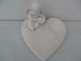 Gipsowa podstawka pod znicze anioł z sercem