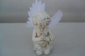 Aniołek a'la gipsowy led ze świecącymi skrzydłami