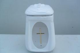 Znicz Ceramiczny z krzyżem - owalny