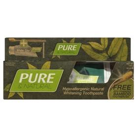 White Glo Pure&Natural 85 ml - pasta do zębów + szczoteczka bambusowa