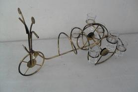 Stojak na wódkę z metaloplastyki (rower) + 6 kieliszków