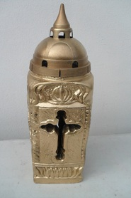 Znicz gipsowy wieża - złoty
