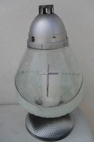 Znicz dzban z mrożonego szkła z krzyżem