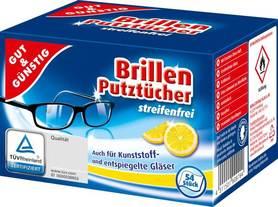 Gut&Gunstig Brillen Putztucher - cytryna - 54 szt - ściereczki do czyszczenia okularów