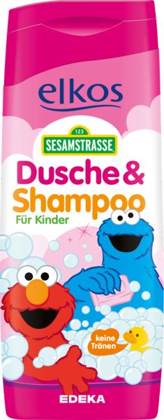Elkos Sesamstrasse 300 ml - żel pod prysznic i szampon do włosów dla dzieci - różowy